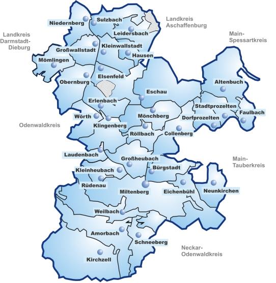 Kreiskarte - Landkreis Miltenberg
